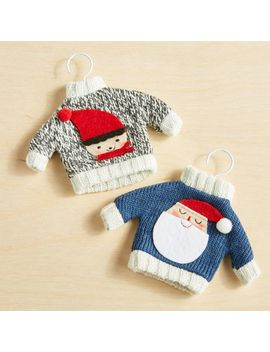 Elf And Santa Sweater Ornaments by Crate&Barrel