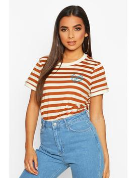 Stripe Embroidered Ringer T Shirt by Boohoo