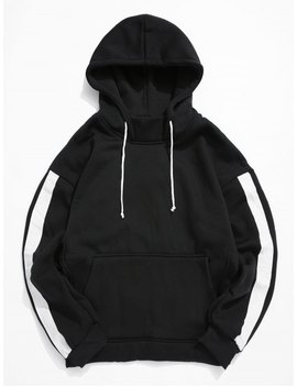Color Spliced Kangaroo Pocket Hoodie   Black L by Zaful