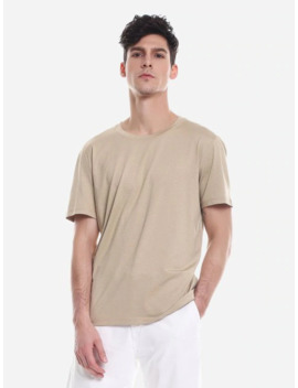 Zan.Style T Shirt Crew Neck   Khaki 2xl by Zaful