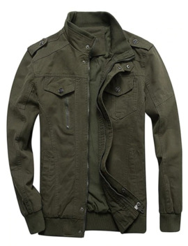 Zip Up Stand Collar Cargo Jacket   Army Green M by Zaful