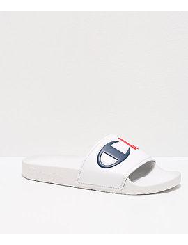Champion Split Script White Slide Sandals by Champion
