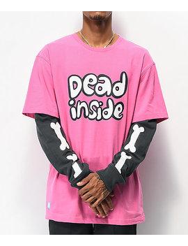Salem7 Dead Inside Pink & Black Long Sleeve T Shirt by Salem7