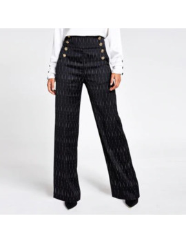 Black Stripe Button Front Wide Leg Trousers by River Island