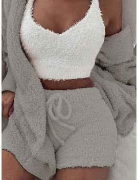 Grey Belt Lace Up Long Sleeve Two Piece Fluffy Pajamas Sleepwear Cute Short Jumpsuit by Cichic
