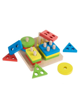 Wooden Shape Sorter Classic Toddler Sorting And Counting Puzzle 16 Cutout Blocks In 4 Colorful Geometric Shapes Hey! Play! by Hey! Play!