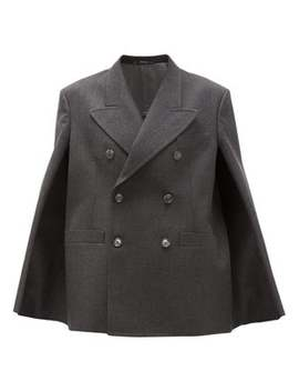 Double Breasted Wool Cape Jacket by Maison Margiela