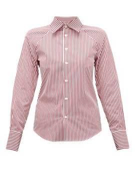 Cut Out Striped Cotton Poplin Shirt by Maison Margiela