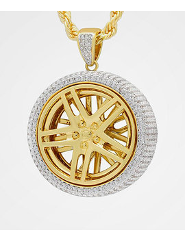 King Ice Spinning Rims Gold Necklace by King Ice