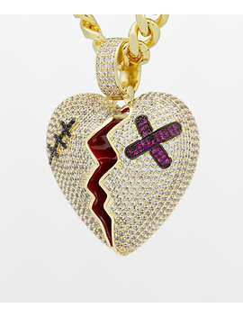 King Ice Broken Heart Gold Necklace by King Ice