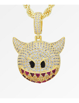King Ice Devil Emoji Gold Necklace by King Ice
