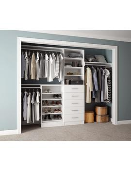 Assembled Reach In 15 In. D X 120 In. W X 84 In. H Calabria In A Bianco White Melamine 11 Shelves Closet System by Home Decorators Collection