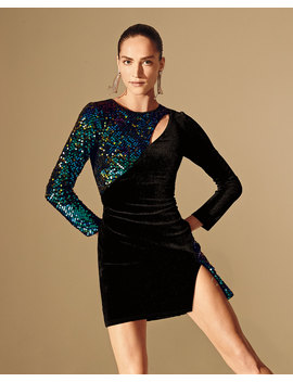 Sequin Velvet Long Sleeve Mini Cutout Dress With Split by Sho