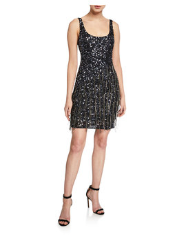 Reena Beaded Scoop Neck Sleeveless Mini Dress With Fringe Trim by Parker Black