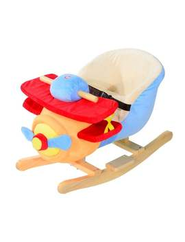 Qaba Kids Plush Ride On Rocking Horse Airplane Chair With Nursery Rhyme Sounds by Generic