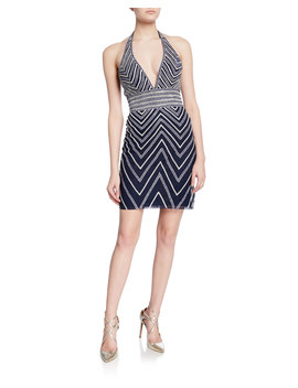Beaded Chevron Mini Halter Dress by Jovani