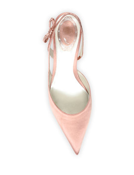 Satin Slingback Pumps With Crystal Bow by Rene Caovilla