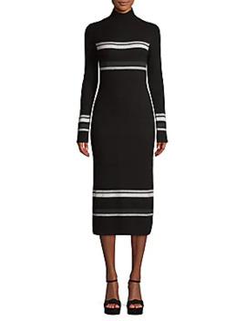 Stripe Wool Cashmere Rib Knit Turtleneck Dress by Naadam
