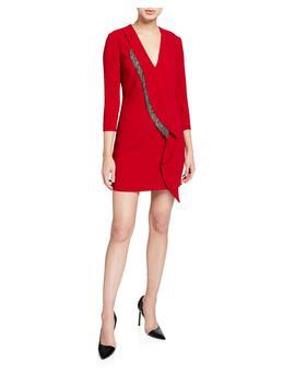 Long Sleeve Crepe Embellished Dress by Pinko