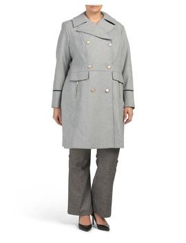 Plus Military Wool Blend Coat by Tj Maxx
