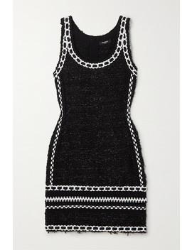 Embroidered Metallic Tweed Mini Dress by Balmain