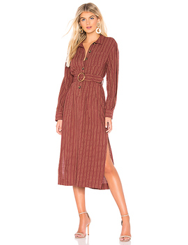 Audrey Midi Stripe Dress In Brown by Free People