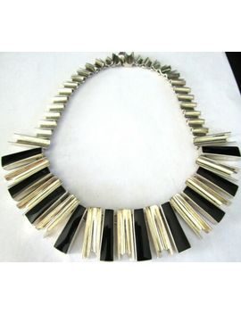 Mexico Sterling Silver & Black Onyx Modernist Vintage Necklace 132 Grams! by Ebay Seller