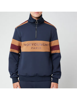 Wooyoungmi Men's Quarter Zip Track Top   Navy by Wooyoungmi