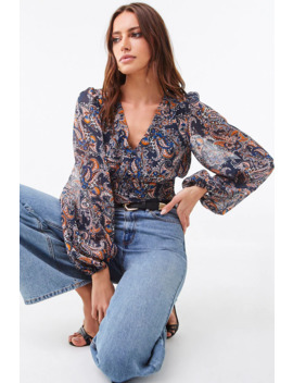 Chiffon Paisley Print Crop Top by Forever 21