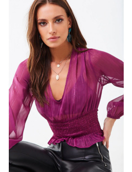 Sheer Metallic Smocked Top by Forever 21