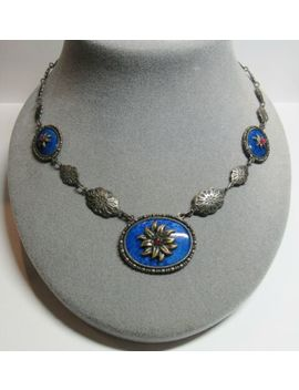 """Vintage Lapis Blue Glass 1930s Art Deco Flower Pendant Necklace 18"""" Length by Unbranded"""