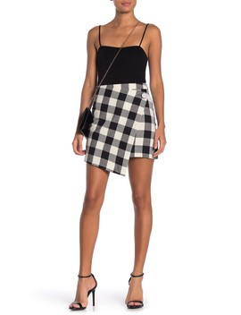 Checkered Envelope Hem Mini Skirt by Mustard Seed