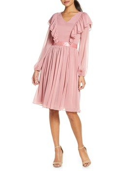Long Sleeve Ruffle Twirl Dress by Rachel Parcell