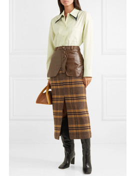Maggie Checked Wool And Faux Leather Midi Skirt by Rejina Pyo
