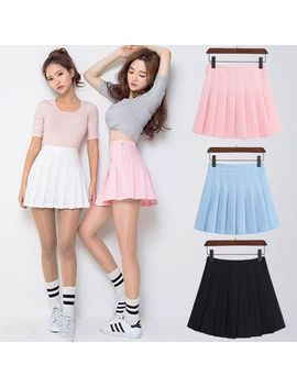 Women's Fashion High Waist Skirt Pleated Wind Skirt Ulzzang Cosplay Kawaii Harajuku Female Mini Short Skirts Clothing For Women by Ali Express.Com