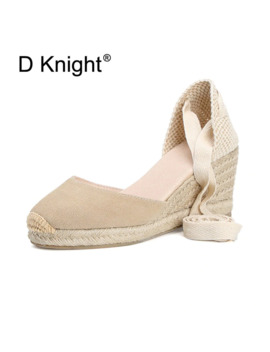 Bohemian Women Sandals Espadrilles Ankle Strap Straw Platform Wedges For Female Shoes Cow Suede Lady High Heels Sandal Big Size by Ali Express.Com