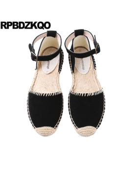 Suede Hemp Casual Espadrilles Sandals Large Size Ankle Strap Genuine Leather Black Women Wide Fit Shoes Ladies Chinese Flats by Ali Express.Com