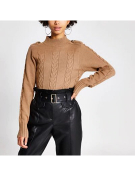 Brown High Neck Cable Knitted Jumper by River Island