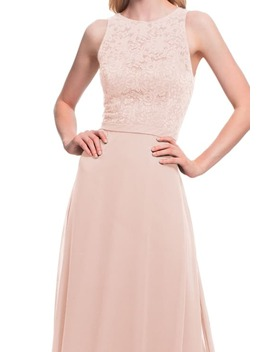 Lace Bodice Chiffon Gown by #Levkoff
