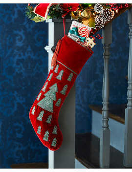 Beaded Trees Christmas Stocking by Sudha Pennathur