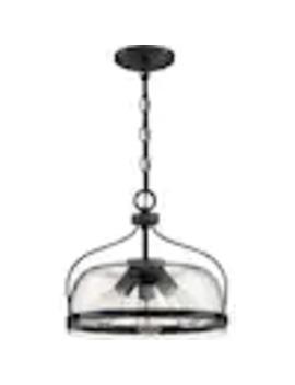 Quoizel Henderson Matte Black Farmhouse Seeded Glass Bowl Pendant Light by Lowe's