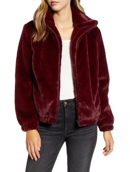 Faux Fur Bomber Jacket by Rachel Parcell