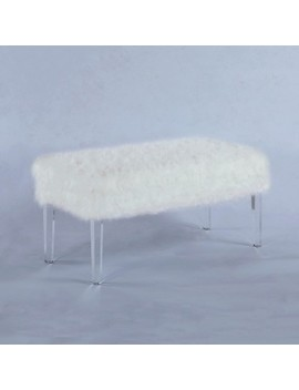 """20"""" Beverly Faux Fur Storage Bench With Acrylic Legs White   Ore International by Ore International"""