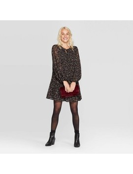 Women's Floral Print Bishop Long Sleeve Crewneck Pleated Shift Dress   A New Day™ Black by A New Day