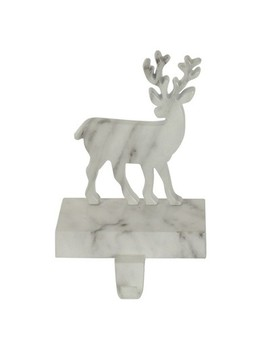 Northlight 7.5 White And Black Marbled Standing Deer Christmas Stocking Holder by Northlight
