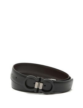 Double Logo Leather Belt by Salvatore Ferragamo