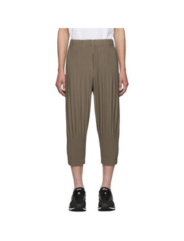 Khaki Pleats Tailored Wide Leg Trousers by Homme PlissÉ Issey Miyake