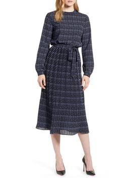 Metro Print Long Sleeve Dress by Anne Klein