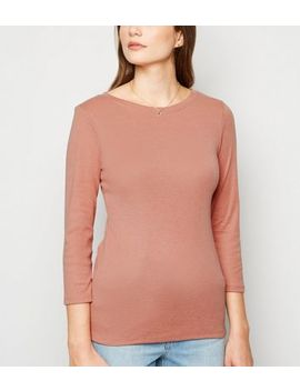 Mid Pink Ribbed 3/4 Sleeve Top by New Look