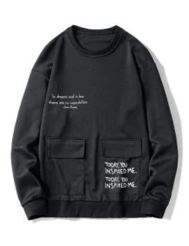Popular Letter Graphic Print Flap Pocket Crew Neck Sweatshirt   Black M by Zaful